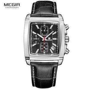 Image 4 - MEGIR neue casual marke uhren männer heißer mode sport armbanduhr mann chronograph leder uhr für männliche leucht kalender stunde