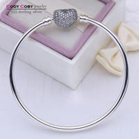 100 925 Sterling Silver Bangle Love Heart Charm Pave CZ Original Logo Beads Fit DIY Bracelet