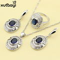 Superb Blue Synthetic Sapphire White Topaz,925 Silver Bridal Wedding Fashion Health Jewelry Set Earrings Necklace Pendant Rings