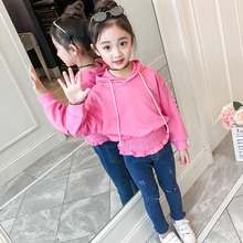 Clothes Set Girls Kids Suit 2pcs Long Sleeve Hooded Elastic Tops+Long Denim Pants Children Costumes Kid Clothing