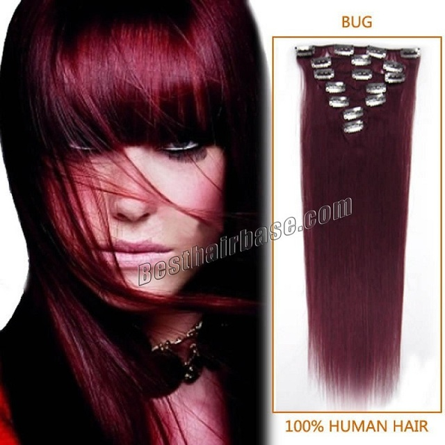 Full Head Burgundy Straight Remy Clip In Hair Extension 16 32 Inch 7