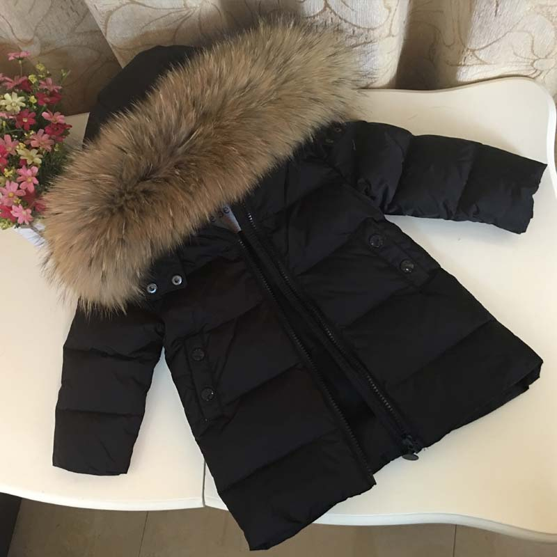 2018 Children Winter Down Jacket for Girls Boys Kids Duck Down Jacket Coat Big Raccon Fur Hooded Warm Parka Kids Down & Parkas 2018 down jacket for girl fur hooded thick warm parka down winter kids clothes cotton children s parkas winter jacket for girls