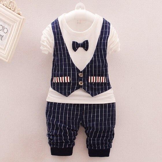 0-3Y new 2016 autumn baby boy british style t shirt+pant clothing sets 2pcs boys spring autumn clothes sets kids casual suit