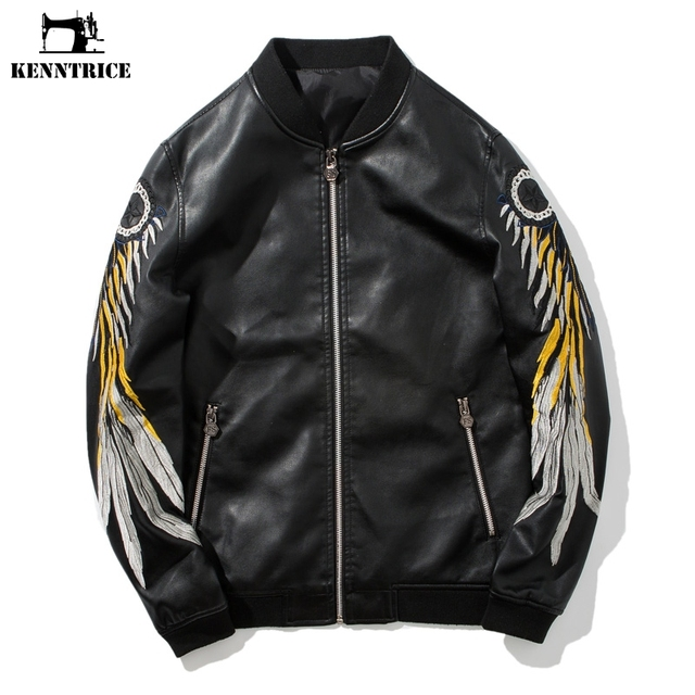 Embroidered Leather Jacket CW808036 jackets.cwmalls.com