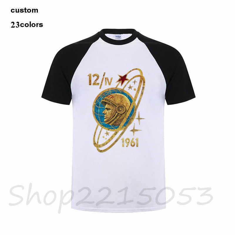 Rússia CCCP Yuri Gagarin T Camisa dos homens Populares de Manga Curta XXXL Algodão Família cosmonauta Soviético 1961 T-Shirt putin Masculino TSHIRT