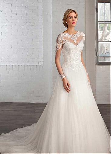 Image 2 - Elegant Tulle Bateau Neckline A line Wedding Dresses with Lace Appliques Long Sleeve Bridal Gowns Robe De Mariage-in Wedding Dresses from Weddings & Events