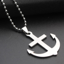 Creative Pop Fashion Stainless Steel Anchor pendent Necklaces Men Beads long Mens Gift