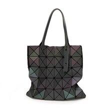 New Women Luminous Handbag Bao Bag Female Folded Geometric Plaid Bag Fashion Casual Tote Women Handbag Mochila Shoulder Bag