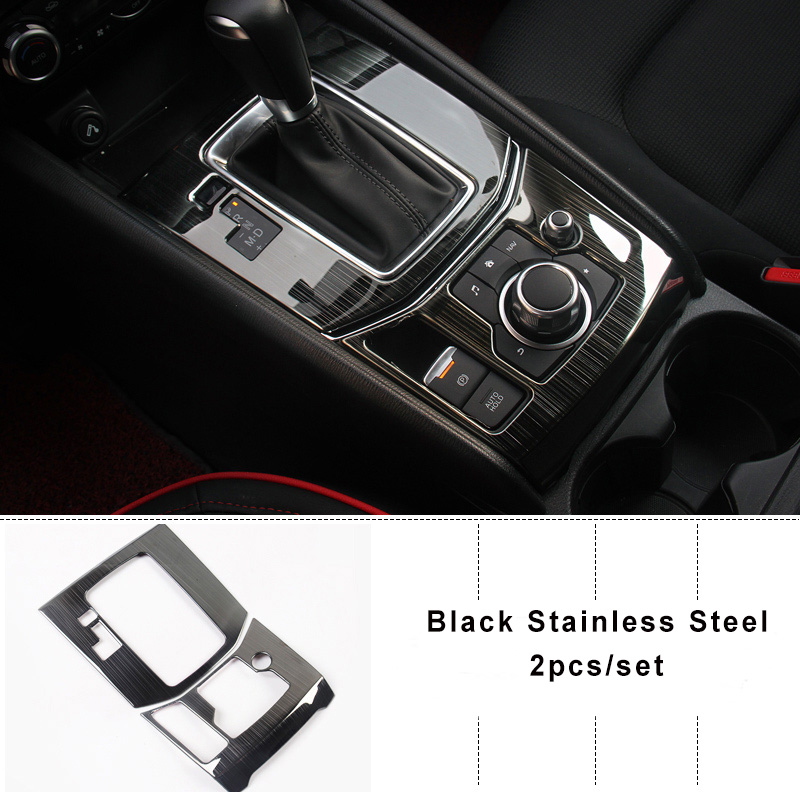 KOUVI Brushed Silver/ Black Stainless Steel Decoration Car-covers For MAZDA CX-5 CX5 2017 2018 Automatic Gearbox Car-styling комплект чехлов на весь салон seintex 86153 для mazda cx5 drive direct black