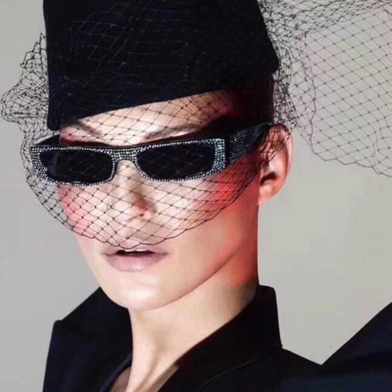 Women Sunglasses Retro Box Imitation Diamond очки High Quality Shiny Starry Catwalk Glasses