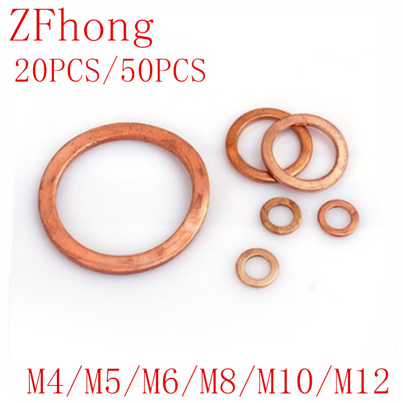 50pcs/20pcs M4 M5 M6 M8 M10 M12 Solid Copper Washer Flat Ring Gasket Sump Plug Oil Seal  10*14*1 Flat Seal Washer Copper Gaskets