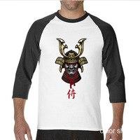 2017 Various Colors Funny Cotton Japanese Warrior Samurai Funny Raglan Sleeve T Shirt Men