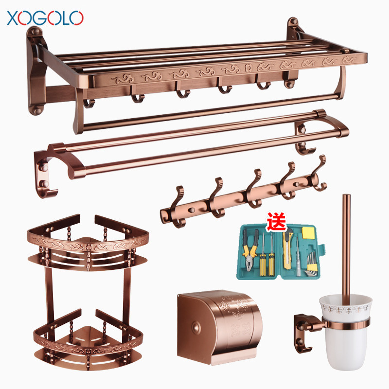 Xogolo Space Aluminum Rose Gold European Style Bathroom Hardware Set Papero Towel Holder Towel Rack Accessories цена и фото