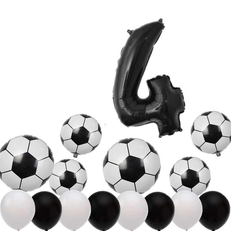 15 шт, 0-9 цифр/футбольные фольгированные шары, белый, черный латексный шар, набор мини-футбольных шаров для детского дня рождения