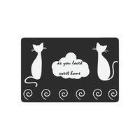Black and White Cat Anti slip Door Mat Home Decor, Sweet Home Quote Indoor Outdoor Entrance Doormat Rubber Backing
