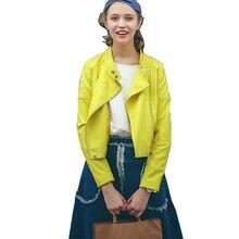 Lemon Yellow Leather Jacket Women 2016 Spring Motorcycle Short Short PU Blouson Cuir Femme Cazadora Cuero Mujer Belt MF53020