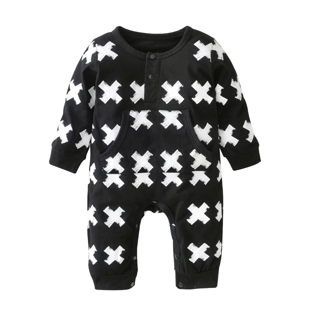 2018 Autumn Hot selling Baby Boys Girls Romper Cotton Long-sleeved Cross prints Infant jumpsuit Newborn Toddler Baby Clothes