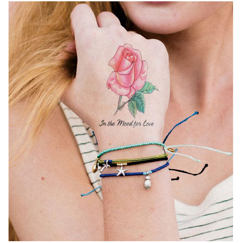 Ft06 Main Dessiner Style Rose Temporaire Body Tattoo Rose Et Bleu