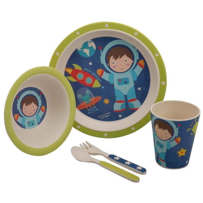 5 st / set babymatningssats med skål tallrikgaffel sked kopp servis - Äta och dricka - Foto 6