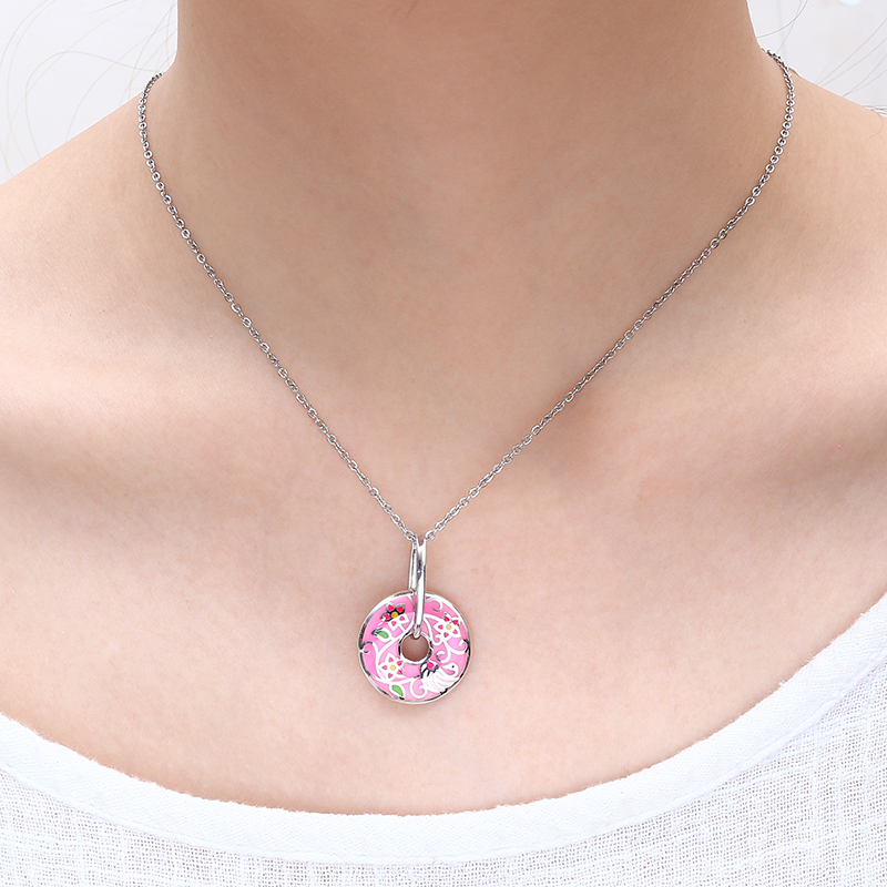 RainMarch Pink Enamel Silver Pendant Female For Chain Necklace Pendulum 925 Silver Women Necklace Pendant Party enamel Jewelry (4)
