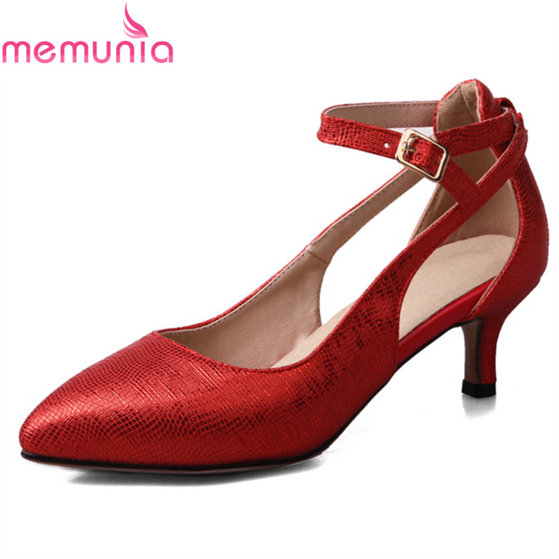 MEMUNIA large size 34-43 2018 spring autumn ladies shoes low heel pointed toe buckle high quality fashion party shoes memunia 2017 fashion flock spring autumn single shoes women flats shoes solid pointed toe college style big size 34 47