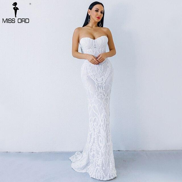 Missord 2019 сексуальная новый бюстгальтер с открытыми плечами Ретро Геометрия блесток женского платья этаж Длина вечерние элегантное платье FT8888-1