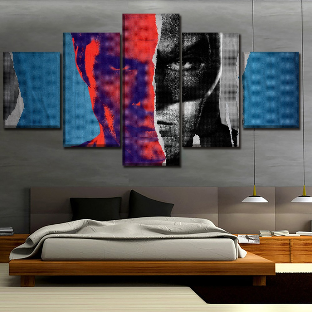 Wall Art Home Deocrative One Set Modular Picture Framework 5 Panel Batman v Superman Dawn of Justice Movie Poster Canvas Print