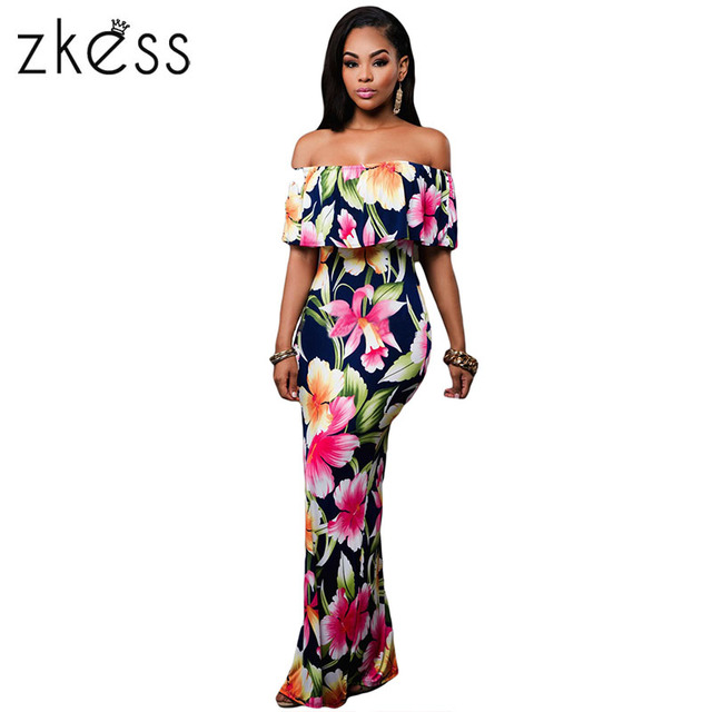 097f53ff91 Zkess Tropical Print Dress Women Long Party Dresses 2019 Elegant Bohemia  Dress Maxi Mermaid Gown Vestido de festa LC61189