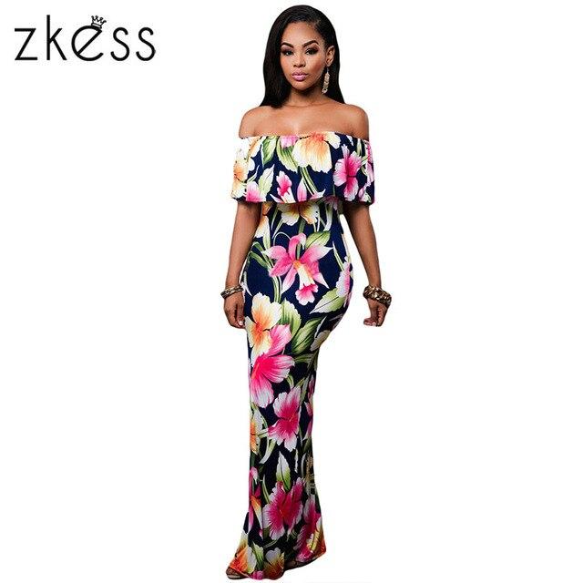 2cf79747aa Zkess Tropical Vestido Estampado Mulheres Vestidos Longos de Festa 2019  Elegante Boemia Vestido Maxi Vestido Sereia