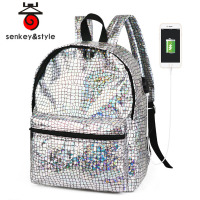 2018 Fashion Backpack Women Silver Hologram Laser Backpack School Bag For Girl Leather Holographic Backpack Multicolor