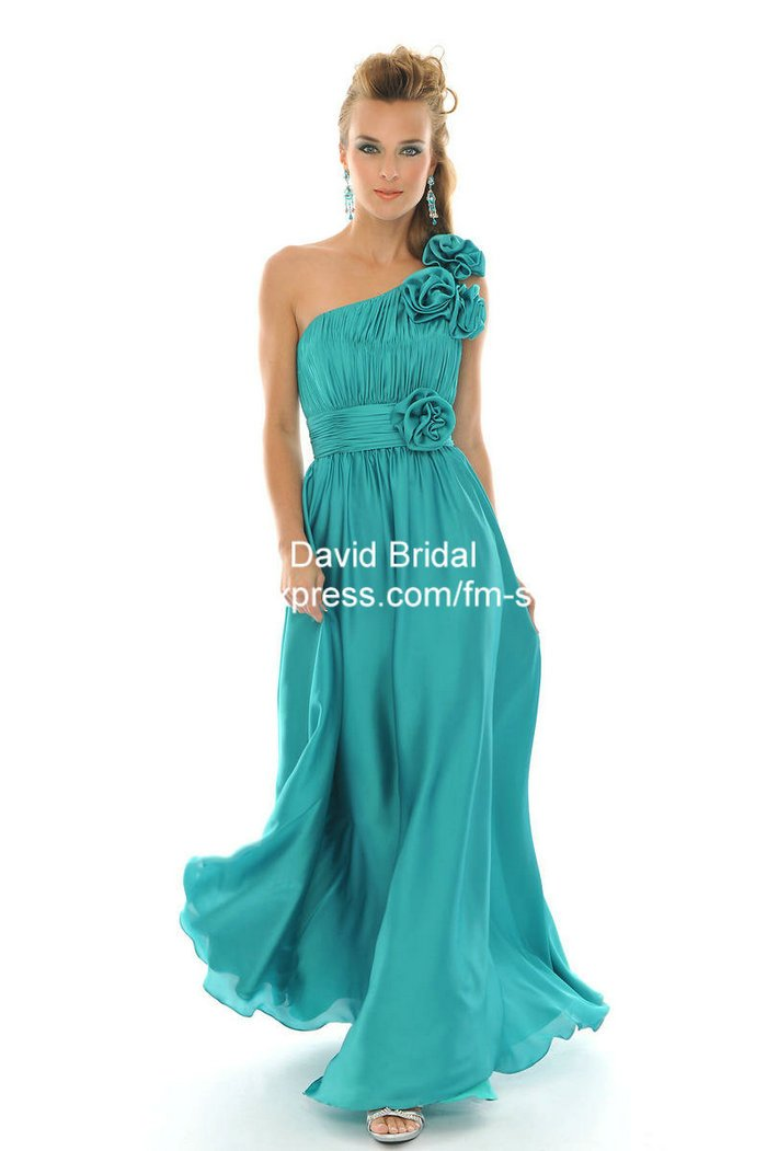 New Arrival Da110 A Line Turquoise Long Chiffon One