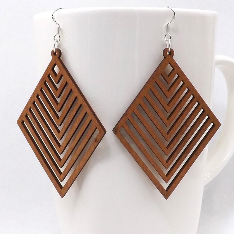 Bohemian wood geometric Earrings
