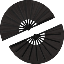 2 Pieces Large Folding Fan Nylon Cloth Handheld Chinese Kung Fu Tai Chi Black Decoration Fold Hand For Par