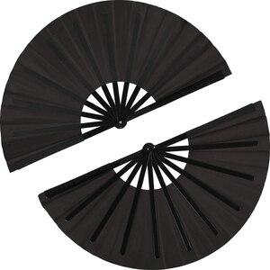 Image 1 - 2 pezzi di Grandi Dimensioni Pieghevole Fan Telo di Nylon Portatile Pieghevole Fan Cinese Kung Fu Tai Chi Fan Nero Decorazione Piega A Mano ventilatore Per Il Par
