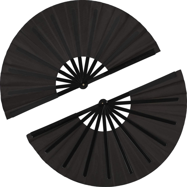 2 pezzi di Grandi Dimensioni Pieghevole Fan Telo di Nylon Portatile Pieghevole Fan Cinese Kung Fu Tai Chi Fan Nero Decorazione Piega A Mano ventilatore Per Il Par