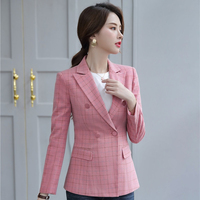 Novelty Pink Plaid Formal Blazers and Jackets Coat Double Breasted Long Sleeve Autumn Winter Ladies Tops Outwear Blaser