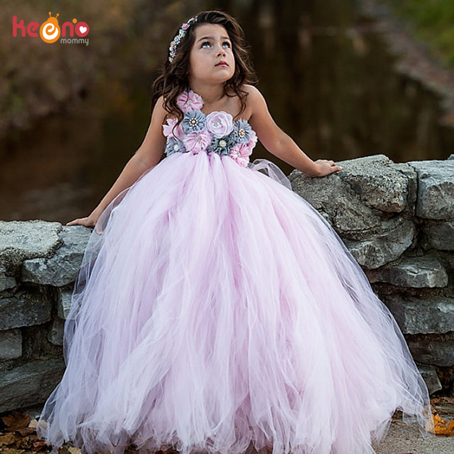 Vintage Pink and Gray Flowers Girls Wedding Tutu Dress Handmade Kids Junior Elegant Party Dresses Children