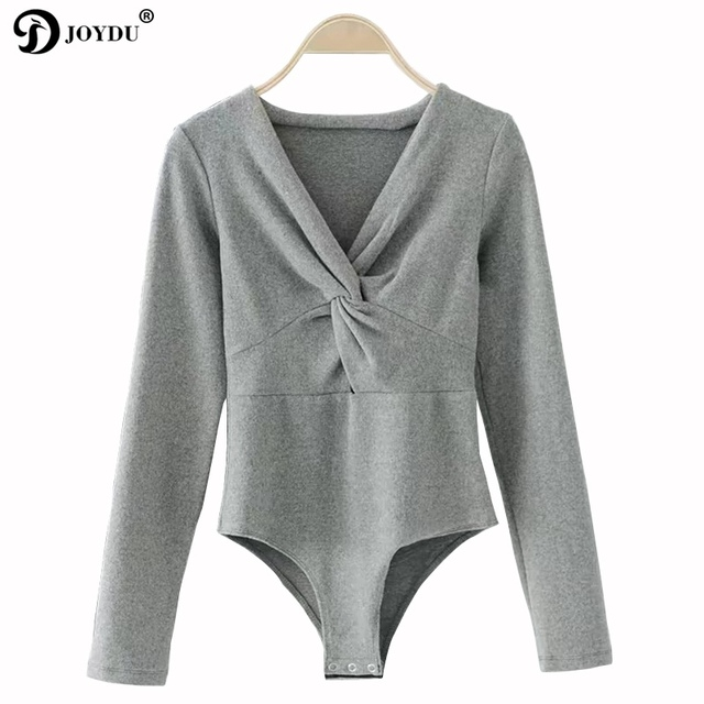 0e859fb4dad5 JOYDU Bodysuit Women 2017 Autumn Cotton Sexy Overall Solid Color Long  Sleeve Front Knot Design Jumpsuit Rompers macacao feminino
