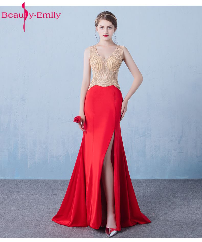 Beauty-Emily Red Stain Sexy   Bridesmaid     Dresses   2017 Mermaid Sequined Floor-Length Deep V-neck See Through Lace Wed Party   Dress