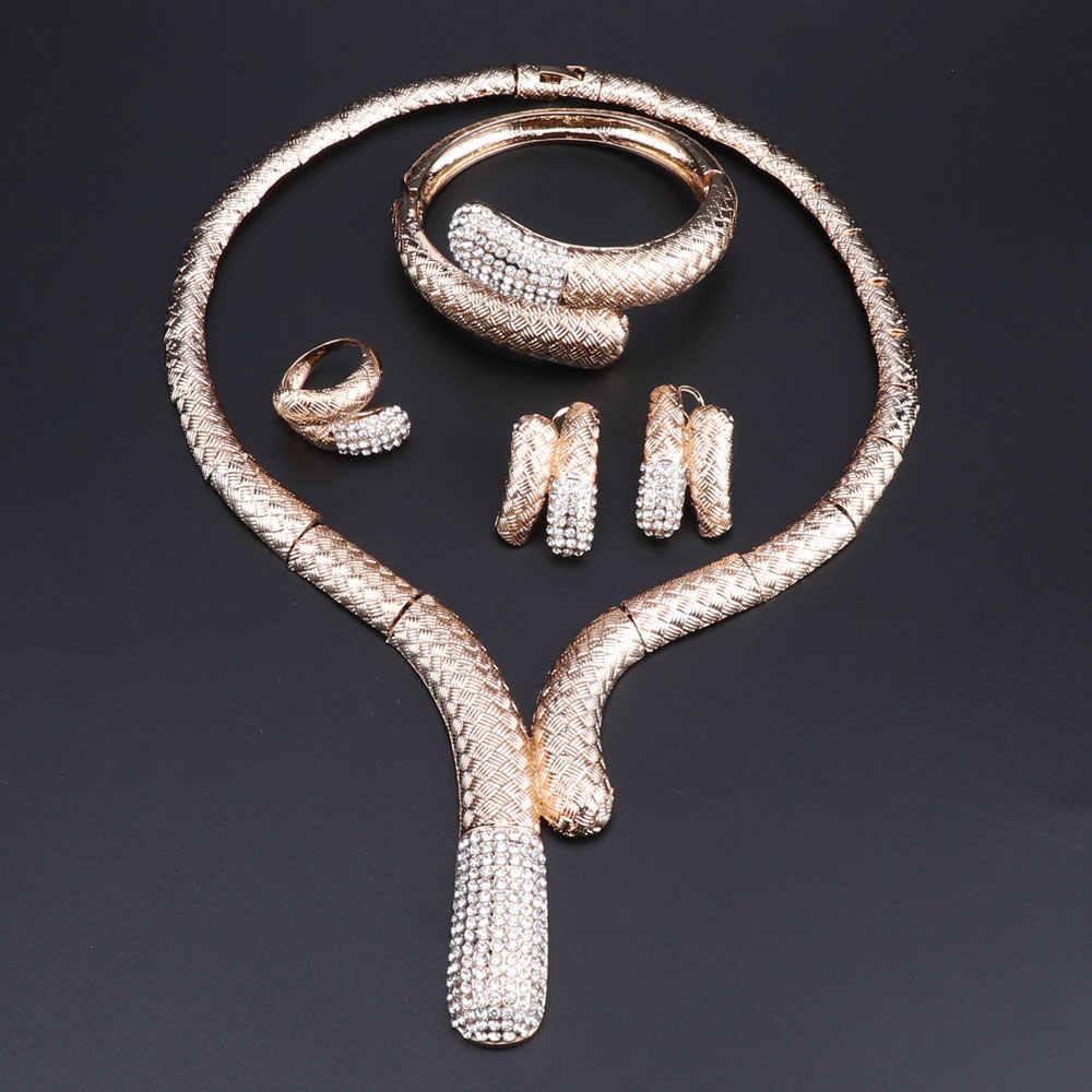 Африка Дубай Свадебные комплекты украшений для женщин Свадебное хрустальное ожерелье серьги набор Мода Золотой костюм ювелирные изделия