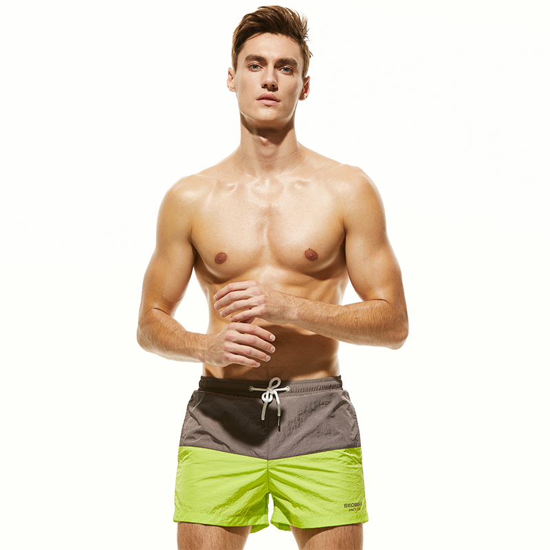 Men's   Board     Shorts   Man Swim   Shorts   Green Patchwork Surfing   Shorts   Polyester Beach Pants Mesh Lining Inside Quick Dry Swimwear