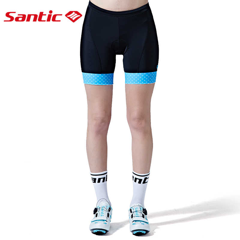 Santic נשים של אופניים מכנסי רכיבה מכנסיים מרופדים Coolmax 4D כרית ירח-מרקם מיובא בד CARVICO לנשימה אופני מכנסיים קצרים