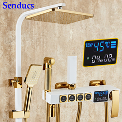 Senducs Digital Shower Set White Gold Bathroom Shower System with High Quality Brass Gold Bathtub Temperature Shower Series
