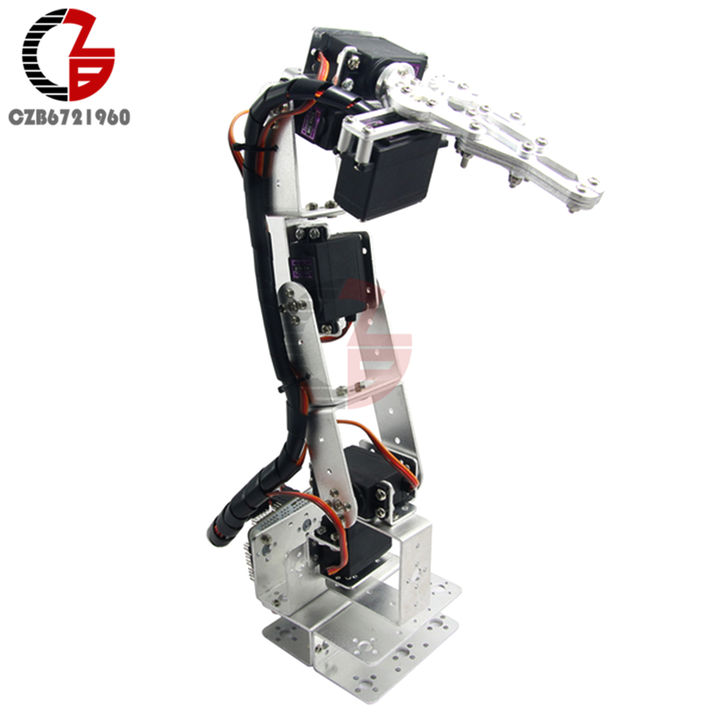 ROT3U 6DOF Aluminium Robot Arm Mechanical Robotic Clamp Claw for Arduino Silver 6dof robotic aluminium robot arm clamp claw