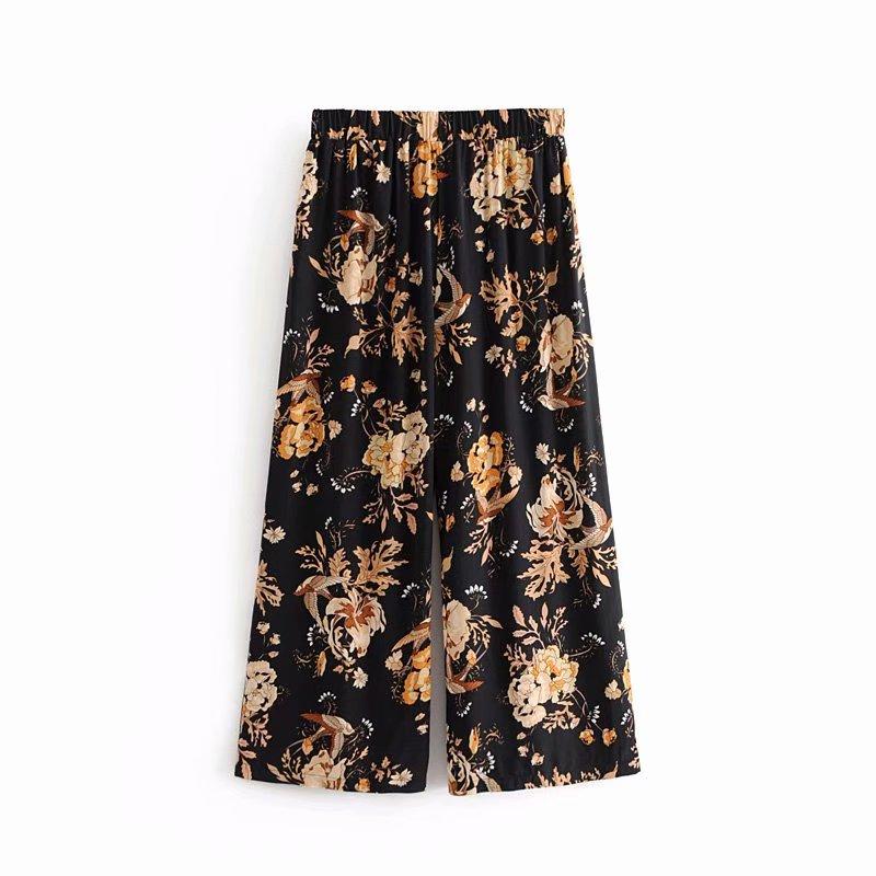 Boho Chic Summer Vintage Floral Print   Wide     Leg     Pants   Women 2019 Fashion Elastic Waist Loose Calf Beach Trousers Pantalones Mujer