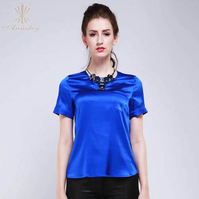 Us 86 85 Aliexpress Com Buy Annzley 100 Pure Silk Blouses For Women 2014 Short Sleeved Shirts Blue Office Tops Blouses Work Wear From Reliable