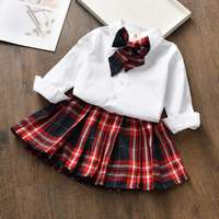 Summer Baby Girl Clothes 2019 New Fashion College Wind Casual Shirt+Plaid Skirt 2PCS Girls Suit Bebe Jogging Suits Baby Outfits
