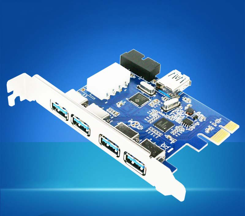 5 Ports <font><b>PCI</b></font>-<font><b>E</b></font> <font><b>PCI</b></font> Express Card to USB 3.0+19 <font><b>Pin</b></font> Connector 4 <font><b>Pin</b></font> Adapter For Win7 <font><b>8</b></font> Drop Shipping image