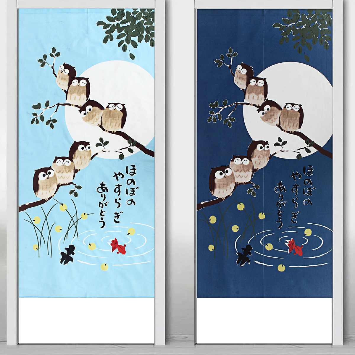 Japanese Doorway Curtains Owls Branch Home Canteen Luck Pattern Doorway Privacy Tapestry Home Decor Divider For Bedroom Kitchen