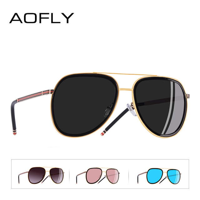 AOFLY BRAND DESIGN Polarized Pilot Sunglasses Men Women Sunglasses Metal Frame Oval Lens Eyewear UV400 A122 3